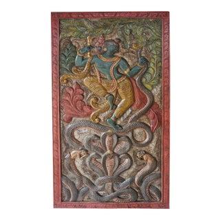 Vintage Indian Hand Carved Krishna Dancing on Kaliya Serpent Door Yoga Studio Panel For Sale