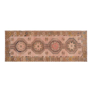 Muted Oushak Turkish Geometric Runner Rug Vegetable Dye Hand-Knotted 5x13 Carpet For Sale