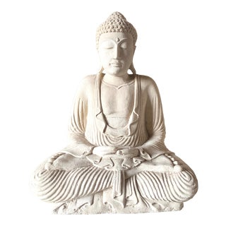 Large Stone and Plaster Cast Buddha For Sale
