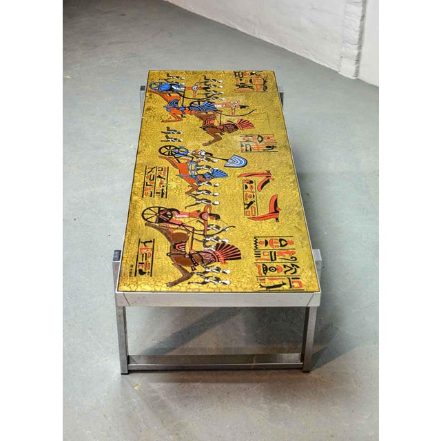 1970s Artistic Mid-Century Belgium Design Egyptian Decorated Coffee Table by De Nisco, 1970s For Sale - Image 5 of 10
