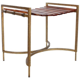 Mid-Century Modern Hand Hammered Wood Slat Bench For Sale