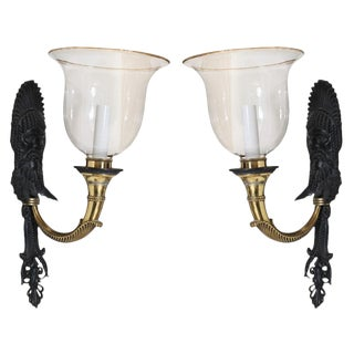 Bronze and Brass Sconces by e.f. Caldwell - a Pair For Sale