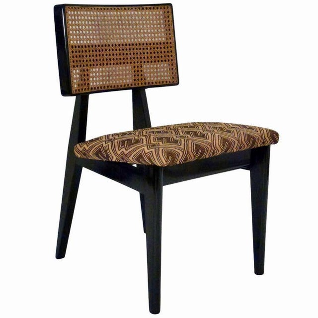 George Nelson for Herman Miller Cane Back Side Chair With Kuba Cloth Seat For Sale - Image 11 of 11
