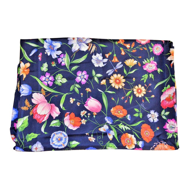 Gucci Navy Floral Silk Fabric For Sale
