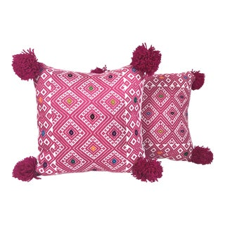 Pink Pom Pom Embroidered Pillows - a Pair For Sale