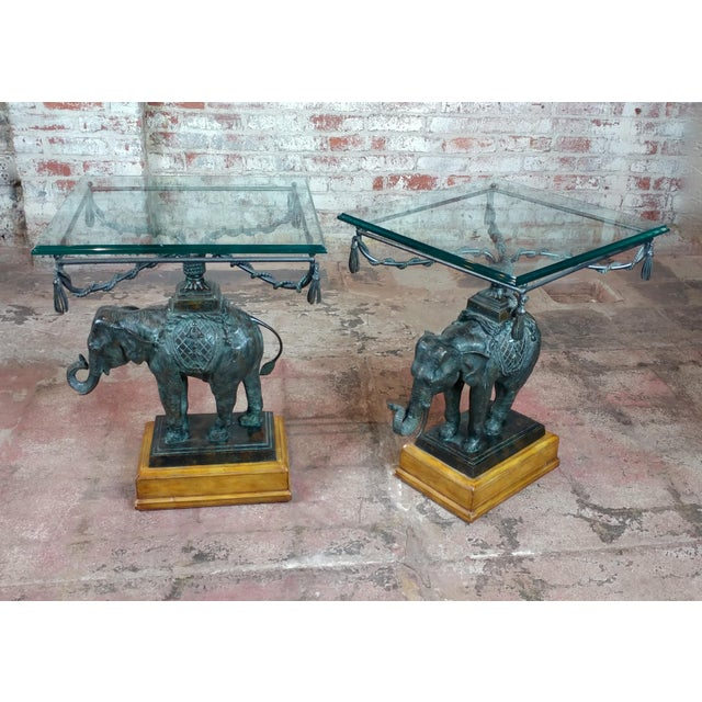 Mid-Century Modern Maitland Smith Beautiful Bronze Elephant side Tables-A pair For Sale - Image 3 of 12