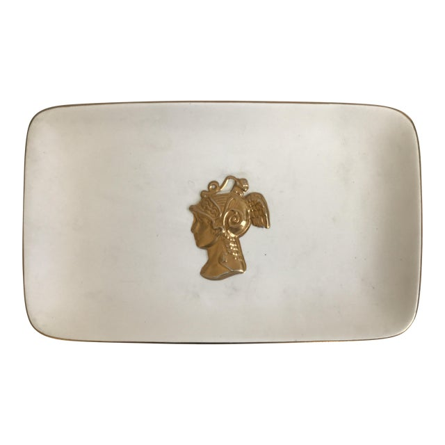 Matte White Serving Platter With Gold Bust - Image 1 of 7