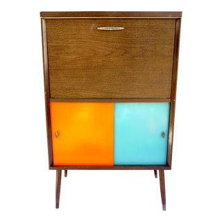 Mid-Century Modern Bar Cabinet | Vintage Retro Record Storage Reversible Doors Personal Entertainment Credenza Dry Bar For Sale