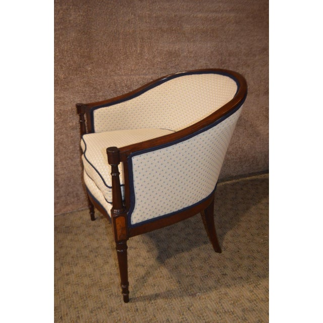 Blue Vintage Sheraton Style Inlaid Mahogany Barrel Back Accent Chair For Sale - Image 8 of 13