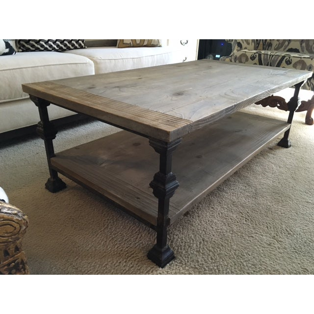 Contemporary Rustic Gray Wash Wood & Iron Coffee Table For Sale - Image 3 of 5