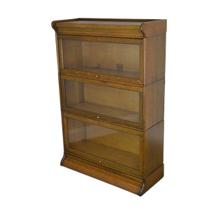 Antique Oak 3 Stack Barrister Bookcase For Sale