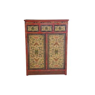 Tibetan Hand Painted Cabinet For Sale