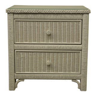 "Henry Link For Lexington Wicker Collection White 23"" Two Drawer Nightstand For Sale"