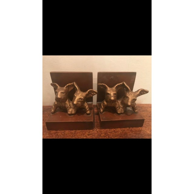Metal Art Deco Cast Metal Scottie Dog Bookends - A Pair For Sale - Image 7 of 7
