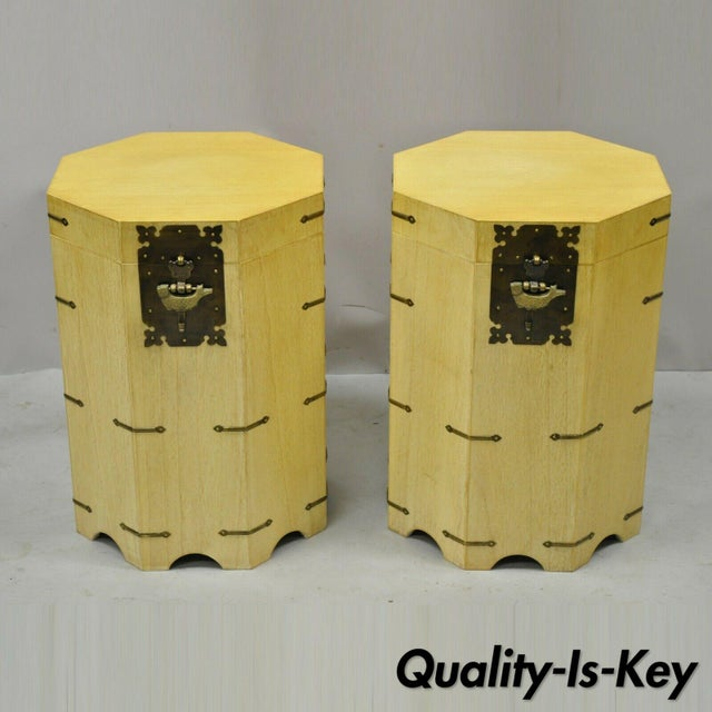 Vtg Cerused Mahogany Chinese Storage Chest Trunk Octagonal Side Tables - a Pair For Sale - Image 13 of 13