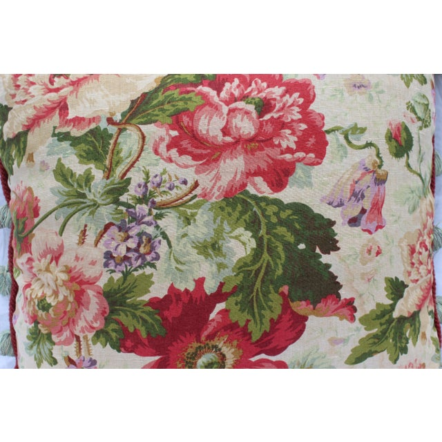 White English Traditional Floral Down Pillow For Sale - Image 8 of 10