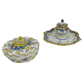 Group of Two French Faience Ink Wells, 19th Century For Sale