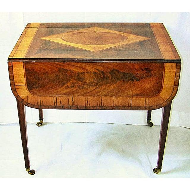 Mahogany 18c Sheraton Period George III Pembroke Table For Sale - Image 7 of 7