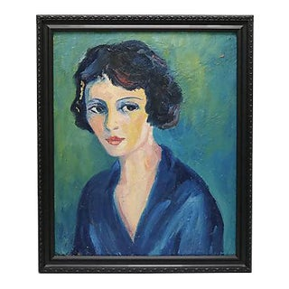1950s French Oil Painting of a Woman