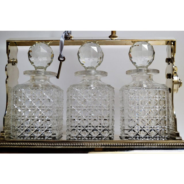 Traditional Antique English Sheffield Silver Plate Three Bottle Tantalus For Sale - Image 3 of 4