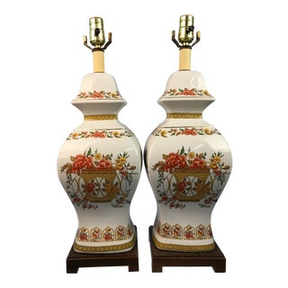 1970s Flower Basket Chinoiserie Vintage Lamps - a Pair For Sale