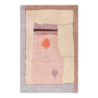Vintage Paul Klee Scandinavian Ege Art Line Arab Song Rug - 6′ × 9′2″ For Sale