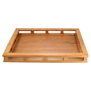 """1960s Teak Wood 18"""" Gallery Tray For Sale"""
