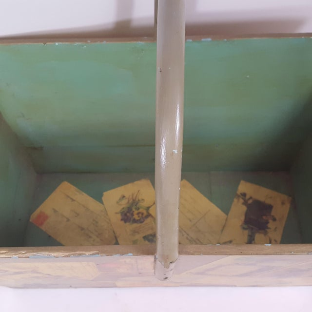 Traditional Antique Victorian Postcard Decoupaged Wooden Tote Basket For Sale - Image 3 of 13