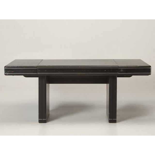 Black American Mid-Century Modern Lacquered Desk Dining Table For Sale - Image 8 of 11