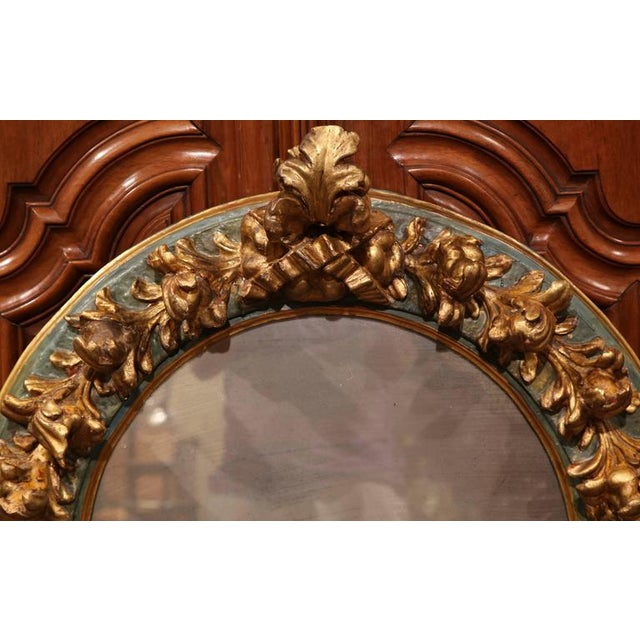 Baroque Large Mid-19th Century Spanish Baroque Carved Polychrome Gilt Mirror For Sale - Image 3 of 4