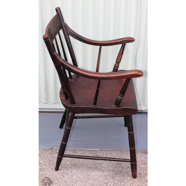 Country Early Original Paint Decorated 19th Century Hitchcock Armchair For Sale - Image 3 of 7