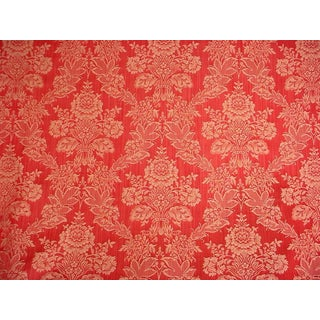 Kravet Couture Sutton Park Raspberry Gold Damask Upholstery Fabric- 10-3/4 Yards For Sale