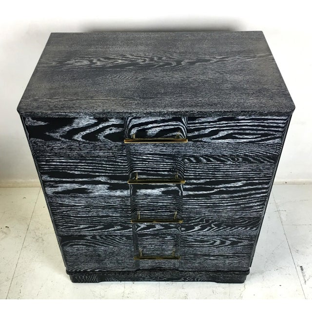 Pair of Ebonized Cerused Oak Bachelors Chests With Brass Hardware For Sale - Image 4 of 7