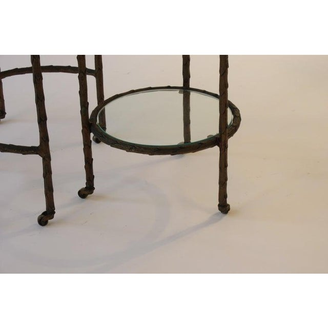 Metal 1950s Baguès Bronze Circular Nesting Tables For Sale - Image 7 of 13