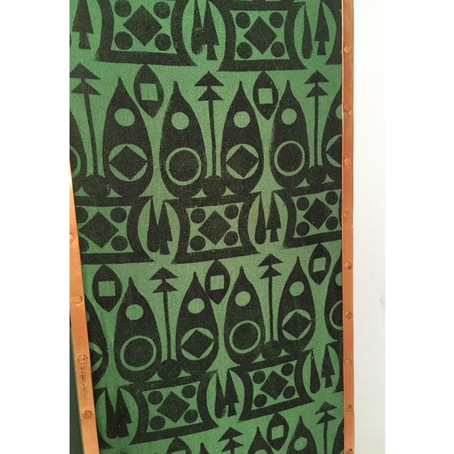 2010s Hand Block Printed Black and Green Fabric Four Panel Screen For Sale - Image 5 of 11