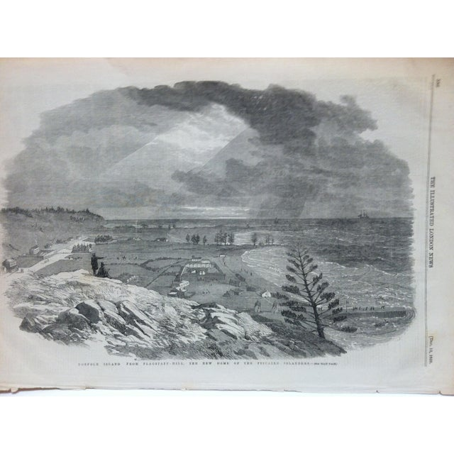 """This is an Antique Original Print from The Illustrated London News that is titled """"Norfolk Island from Flagstaff Hill -..."""