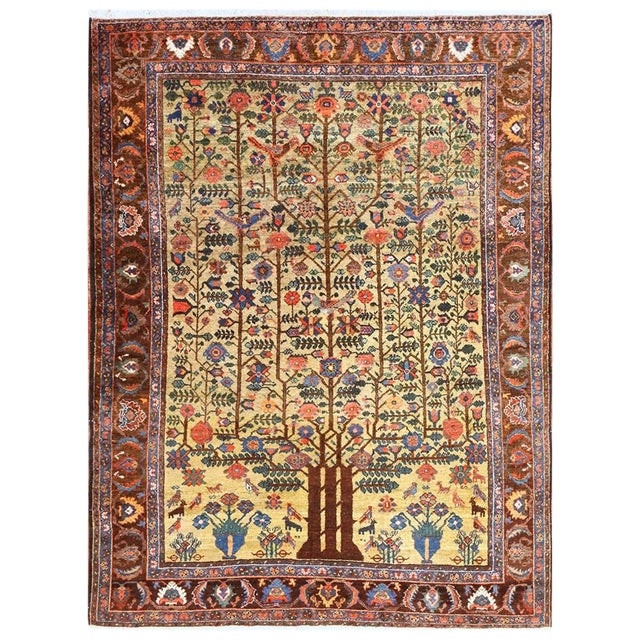 Antique Tabriz Persian Tree of Life Rug - 5′ × 6′10″ For Sale