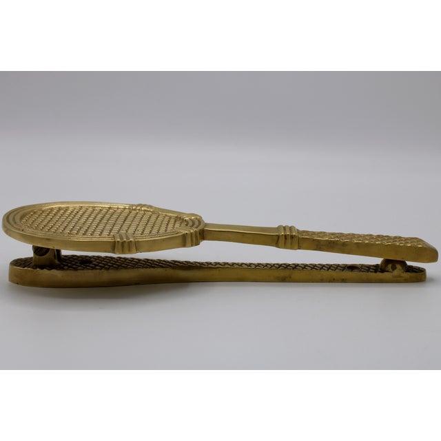 Metal Vintage Solid Brass Tennis Racket Door Knocker For Sale - Image 7 of 11