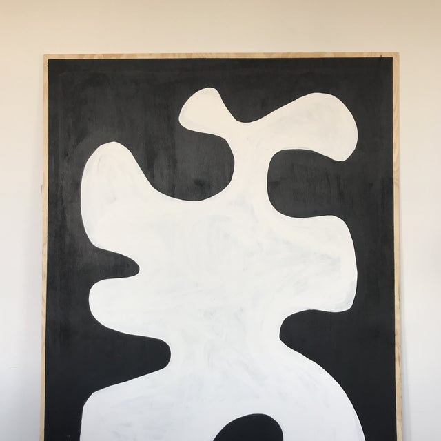 Black & White Oversized Abstract Painting - Image 2 of 9