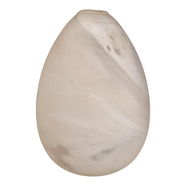 Minimalist Egg Shaped Faux Marble Organic Glass Vase For Sale