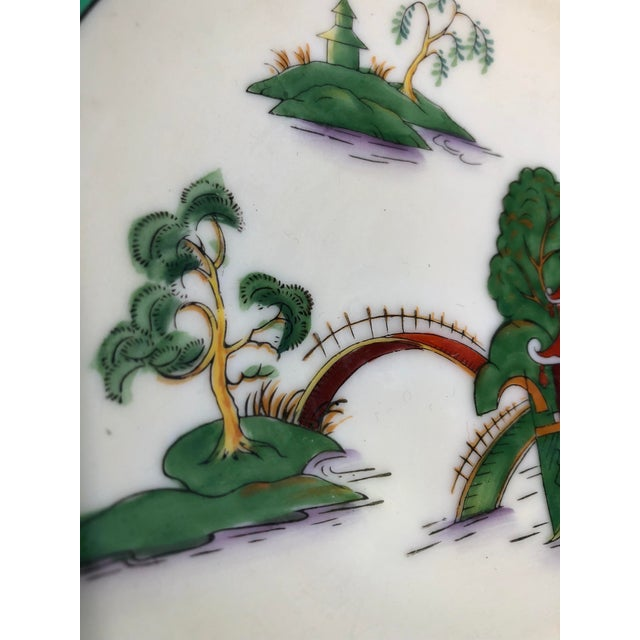 Midcentury Pair of Chinoiserie Noritake Triangular Plates With Handles For Sale - Image 4 of 13