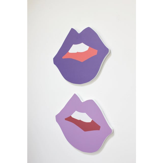 Limited edition of mini Kiss Me cutout print in Grape and Lilac on PVC substrate. Key hole on back, ready to hang. By...