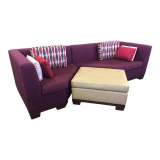 Contemporary Three Part Sectional Sofa & Ottoman