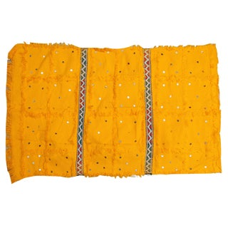 Mustard Yellow Moroccan Wedding Wool Blanket For Sale
