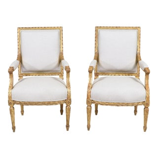 French Antique Louis XVI-Style Armchairs-A Pair For Sale