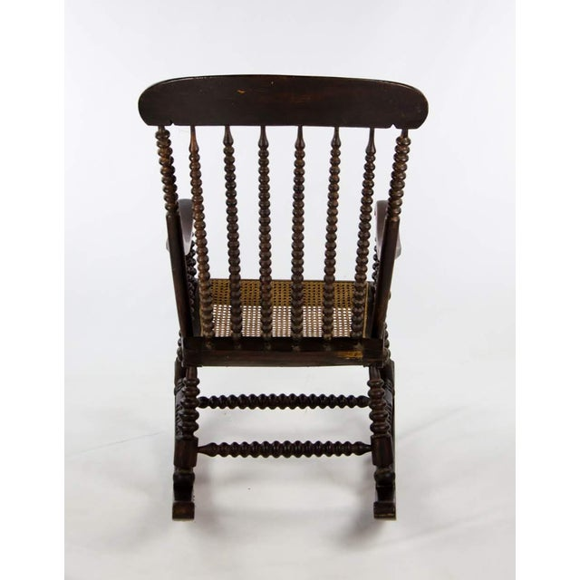 Late 19th Century Vintage Victorian Bobbin Turned and Caned Seat Rocking Chair For Sale - Image 12 of 13