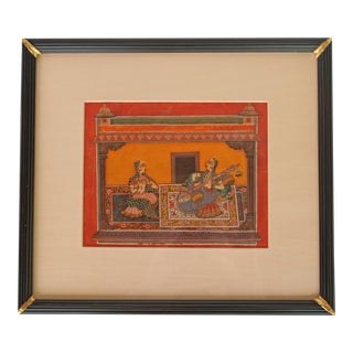 Mid-20th Century Traditional Indian Watercolor of Two Female Musicians For Sale