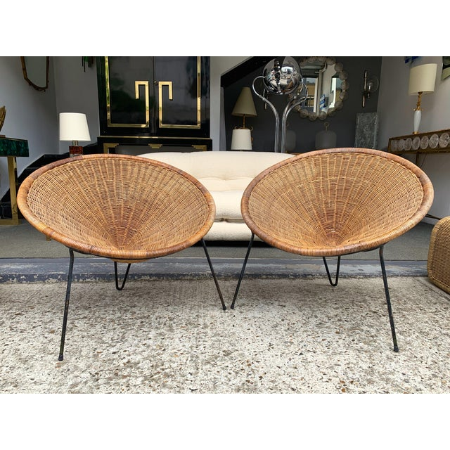 Mid-Century Modern 1950s Rattan Basket Armchairs - a Pair For Sale - Image 3 of 13