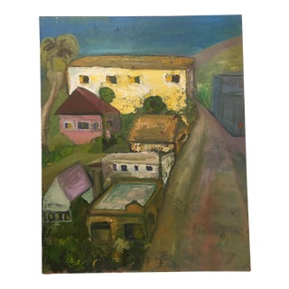 Late 20th Century Oil Painting on Canvas by Alfonso of East Bay Carquinez Bridge Housing For Sale
