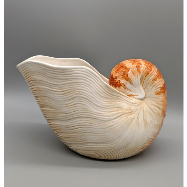 Coastal Fitz and Floyd Nautilus Wine Caddy/Planter For Sale - Image 3 of 9